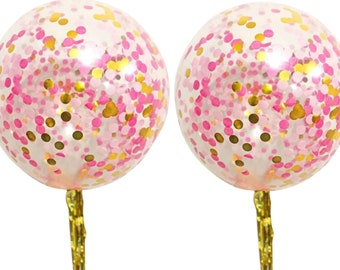 2 x Pink & Gold Jumbo Confetti Balloons with Tassels 90cm - Bridal Shower Decoration / Girl Baby Shower / First Birthday / Wedding Party