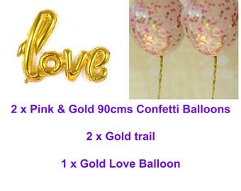 Pink and Gold Love Balloon Set - 2 x Jumbo Confetti Balloons with Tassels and Gold Love Balloon -Wedding Balloons, Bridal Shower, Engagement