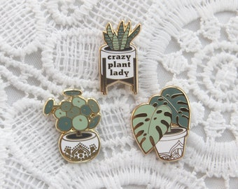 plant lapel enamel pins (1 inch tall) - monstera deliciosa, pilea pepperomide, crazy plant lady snake plant, mid century plant stand