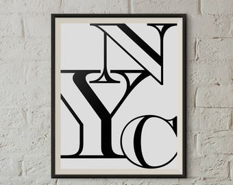 NYC Wall art, New York print poster, 2 sets of Black & White prints, Contemporary Modern Decor, Printable art, New York City modern