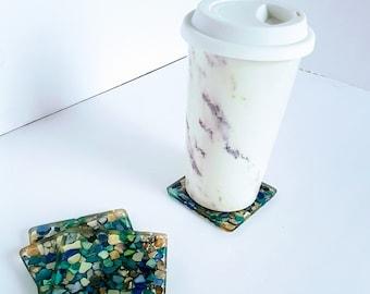 Square Seashell Coasters 4-Pack