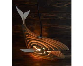 Wooden Whale Lamp, Wooden Night light lamp, Wooden Whale, Whale 3D Model