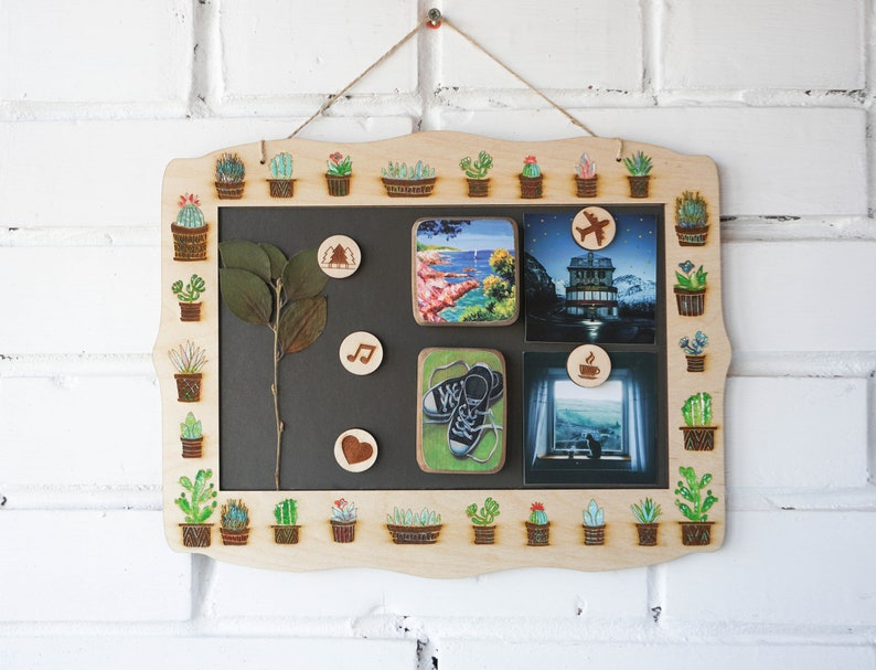 40c4d07a0474f Magnet Board With Frame, Board for magnets, Stand for magnets, cactus