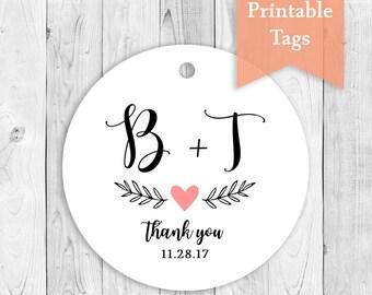 Printable Favor Tags, Wedding Name Tags, DIY Thank You Tags, Print at Home Tags, Name Initials Tags