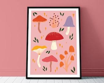 Mushroom Collector Art Print - A4