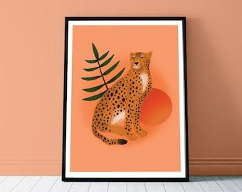 Sun Cheetah Art Print - A4