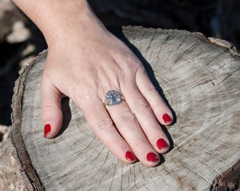 925 sterling silver tree of life ring. Adjustable.