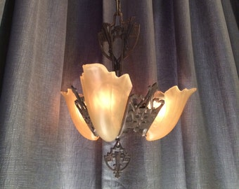 Three Light Slip Shade Chandelier - Cast Iron with Copper Highlights - Circa 1934