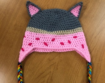 Rainbow Poptart Nyan Cat Hat Crochet Pattern PDF