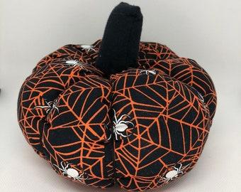 Large Orange and Black Spiders Fall Decor Soft Fabric Pumpkin