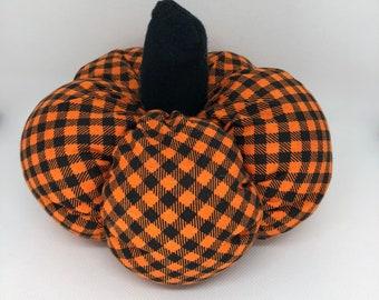 Large Orange Plaid Fall Decor Soft Fabric Pumpkin