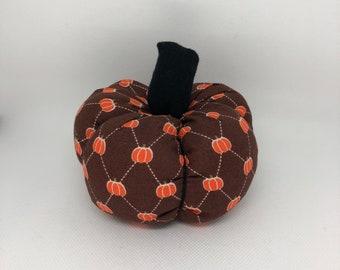 Small Brown Argyle Pattern Fall Decor Soft Fabric Pumpkin