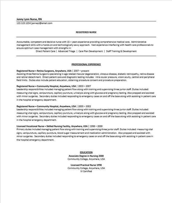 Experienced Nurse Resume & Cover Letter