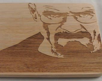 Breaking bad, walter white, serving tray, cutting board, engraved, wood cutting board, cheese board, chopping board, breaking bad gift,