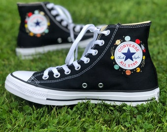 Custom woman chuck Taylor converse embroidered space, galaxy, planet logo