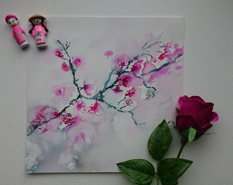 Original watercolor, original painting of cherry blossoms, japanese style, spring, sakura,pink flowers