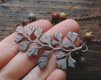 Maidenhair Fern Leaf Necklace, Copper Fern Jewelry w/ Picasso Jasper Beads, Adiantum Fern, Botanical Necklace, Mustard Grey Green Red Jasper
