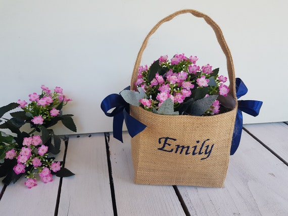 Personalized burlap flower girl basket and ring pillow