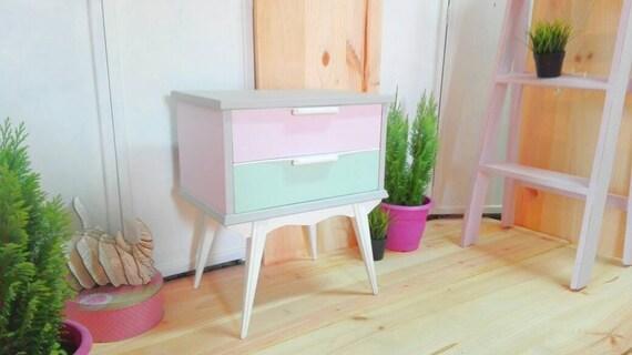 Nordic style stilettos Nordic night table vintage colors Pastel Bedroom  exclusive design