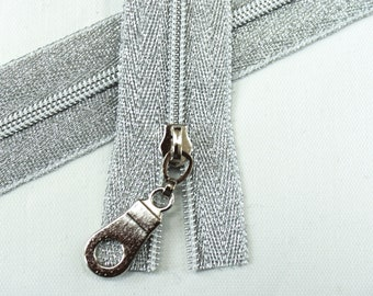 b52af9d468c6 Size  3 Metallic Silver Zipper by the yard with silver coil   Zipper Pulls