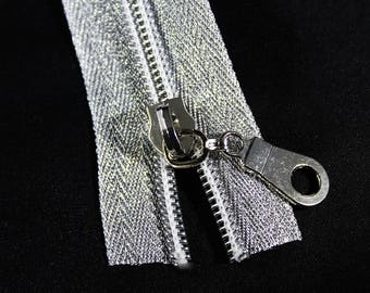 c720d1ee0964 Metallic Silver Zipper by the yard with silver coil   Zipper Pulls
