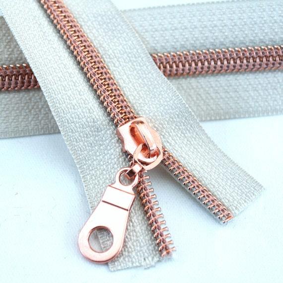 bagmaking nylon white zipper tape continuous #5 Rose gold