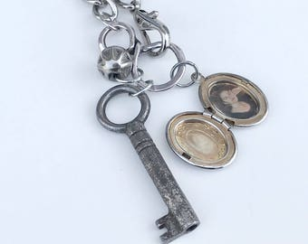 Key to the Past, Upcycled Necklace with Vintage Key, Locket and Button