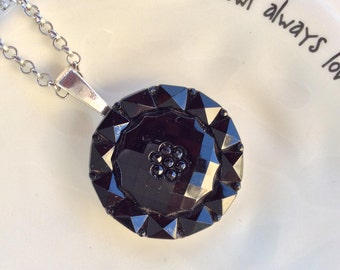 Upcycled Black Glass Button Necklace, One of a Kind