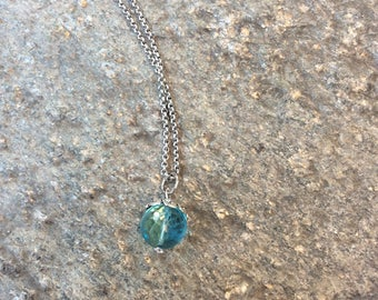 Repurposed Vintage Blue Glass Button Necklace