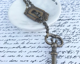 Upcycled Key Jewelry - Vintage Assemby - Slider Necklace Made with European Key and Keyhole Plate
