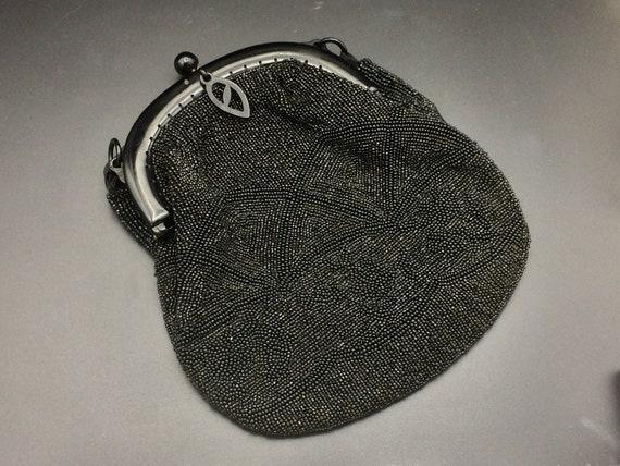 Vintage hand beaded handbag black beaded evening.