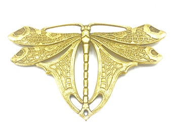 Dragonfly vintage brooch in Brass Art Nouveau style with C-closure