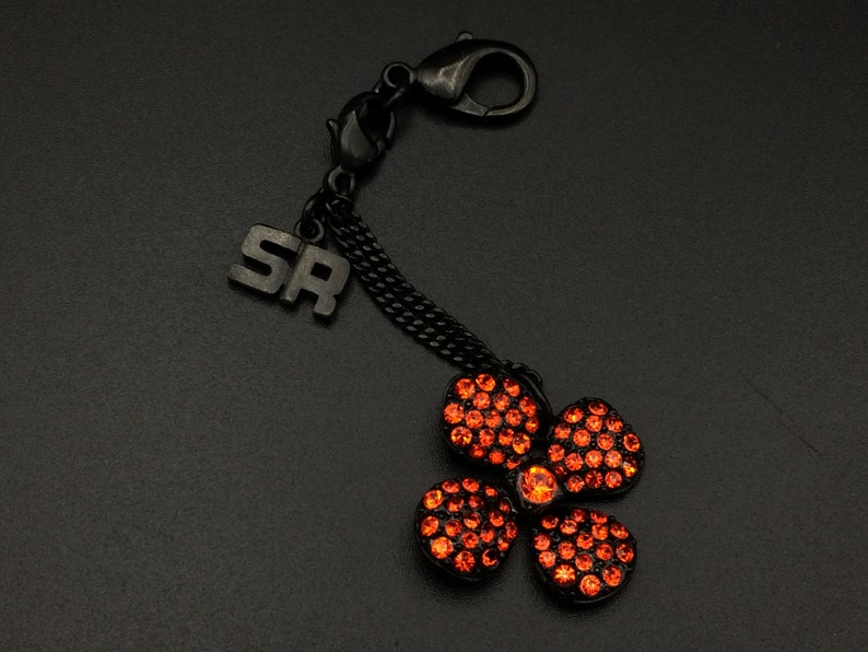 Gift for woman Vintage bag jewelry Sonia Rykiel Flower in red crystals and black metal