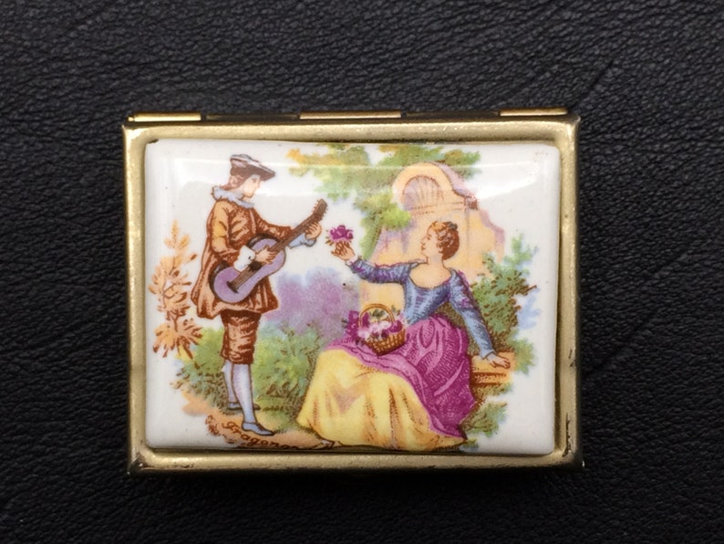 Vintage pill box with gallant scene For collector.