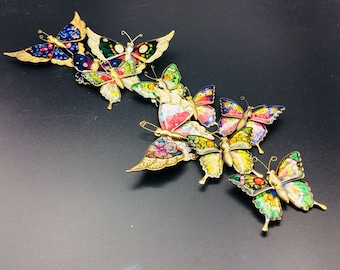 10 Vintage Butterfly / Brooch - Insect Brooch, Bugs, Colored Enamels - Gifts for Her - Mother's Day