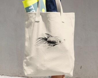 Fish bag - betta fish grocery bag tote bag