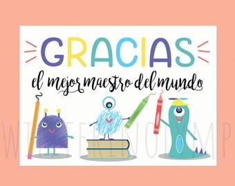 Spanish teacher card | Etsy