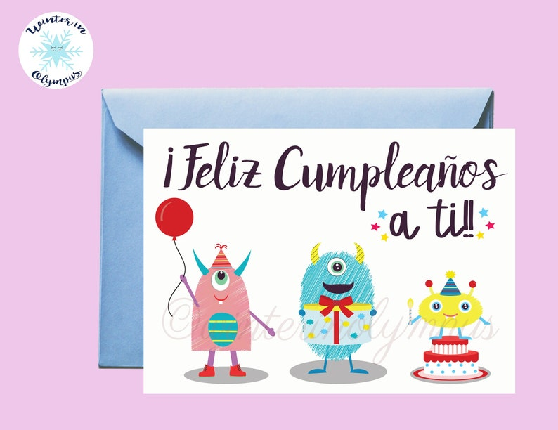 spanish birthday card printable with monsters  etsy