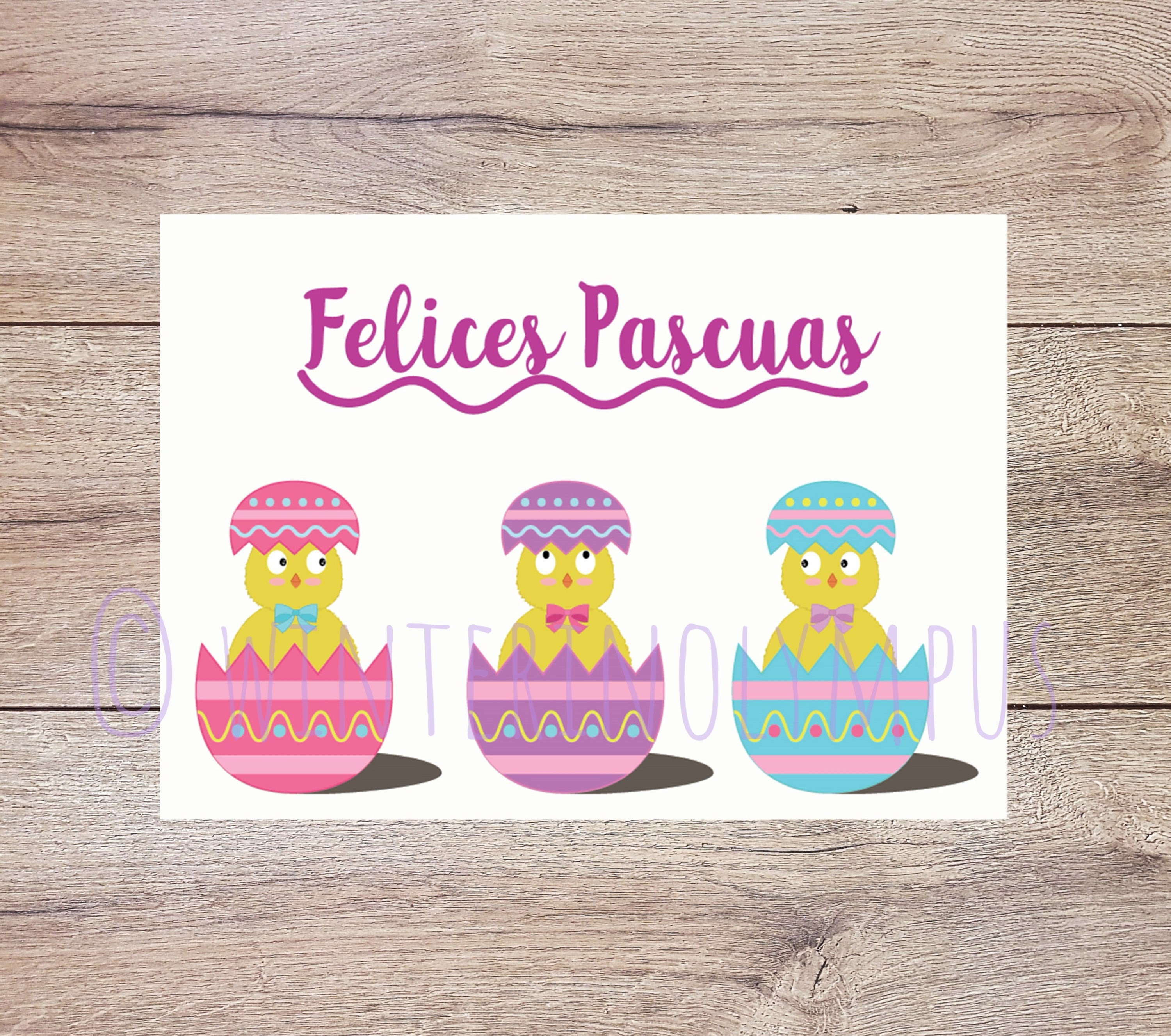 Spanish Easter Greeting Card Printable With Easter Eggs Etsy