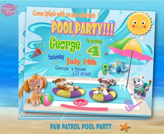 PAW PATROL Pool Party INVITATION Birthday Summer Party Paw Etsy