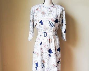 Vintage 3/4 Sleeve Sheath Midi Dress