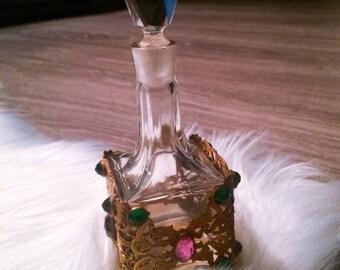 Vintage Perfume Bottle Antique  Stone Detail Holder
