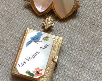 Vintage Mother Of Pearl Locket Pendent Pin Brooch