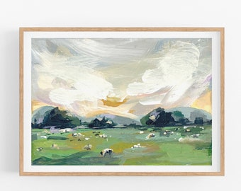 Abstract Landscape, Landscape Painting, Impressionist Painting, Acrylic Painting, Original Art Print, Poster, Nature Wall Art, Modern Art