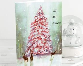 Christmas Cards Handmade, Christmas Gift for Wife, Pink Christmas Tree, Mother in Law Christmas Gift, Vintage Christmas, Holiday Card Set