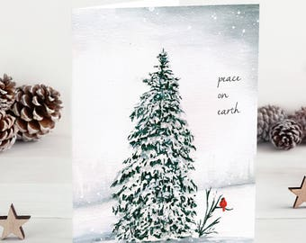 5 christmas cards handmade watercolor christmas tree holiday card set christmas gift for mom mother in law christmas gift winter art