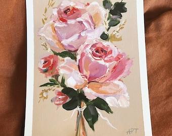 "6x8"" Flower Painting, Impressionist Painting, Acrylic Painting, Floral Painting, Abstract Painting, Mini Painting, Original Art, Roses Rose"