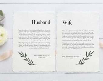 Handmade Paper, Wedding Vows, Cotton Anniversary Gift, Cotton Rag Paper, 2nd Anniversary Gift,  Set Of 2 Prints, Newlywed Gift, Personalized