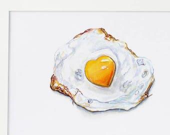 Food Wall Art, Egg Watercolor, Egg Print, Food Illustration, Food Art, Kitchen Art, Kitchen Decor, Kitchen Wall Decor, Kitchen Poster, Egg