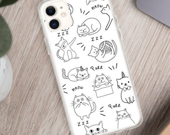 Cute Cat Phone Case, iPhone 11 pro max, Line Drawing Cases, Cat Lover Gift, iPhone XR, iPhone 8 Plus, iPhone 7, iPhone 12 mini, iPhone SE